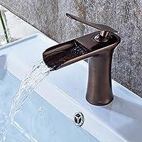 Retro Wasserfall Wasserhahn Antik Braun ORB Gebürsteter Waschtischarmatur  Einhebelmischer Bad Waschbecken Armatur Einhand Mischbatterie  Waschtischbatterie F