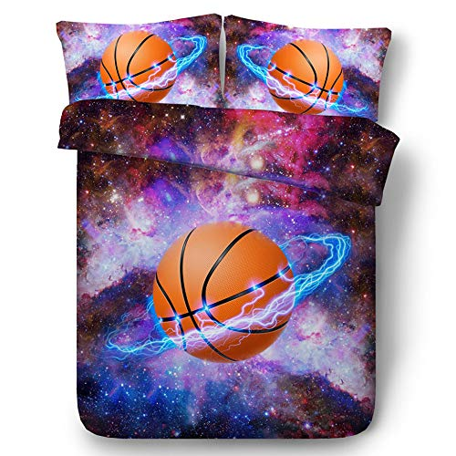 xiaoming 3D-Bettwäsche, Bettbezug Basketball-Bettbezug Bettwäsche Gedruckt Basketball 3D-Effekt Bettbezug Und Kissenbezug 3-teiliges Set,240 * 225cm