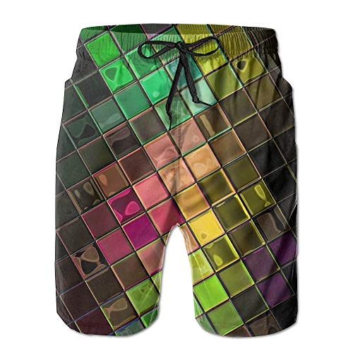 KKONEDS Colorful Disco Block Men's Beach Shorts Casual Surfing Trunks Surf Board Pants with Pockets for Men Large Disco-flare Jeans