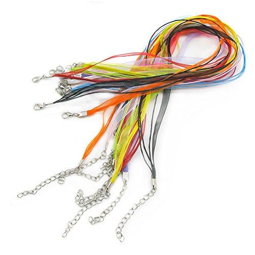 Preisvergleich Produktbild TOAOB Organza Bänder Wachsschnüre mit Karabinerverschluss Mehrfarbig Wächsern Tüll Band Halskette für Anhänger DIY Packung mit 20 Stück