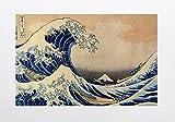 """Bilderdepot24 selbstklebende Fototapete Katsushika Hokusai - Alte Meister """"Die Große Welle vor Kanagawa"""" 100 x 65 cm - direkt vom Hersteller, Vinyl"""