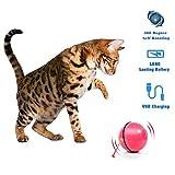 MARXIAO Cat Toy Electric Cat Ball Ricarica USB con Luce a LED Intelligenza interattiva Rullo Giocattolo per Gatti, Rosa