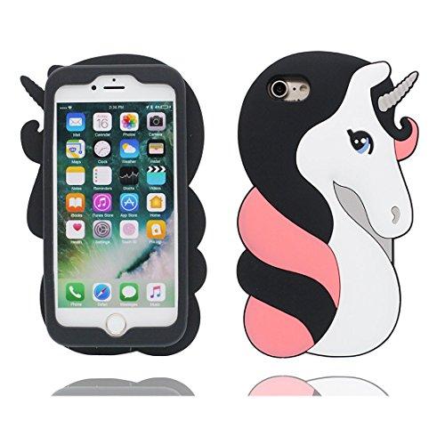 iPhone 6s Plus Custodia, Protezione protettiva TPU Soft Case / Design morbido Copertura per iPhone 6S Plus / 6 Plus 5.5 / Cover Cartoon 3D Rosa unicorno unicorn Nero