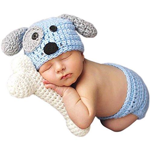 grafie Prop Niedlich Baby Kostüm blau Hund Stricken Handarbeit ()