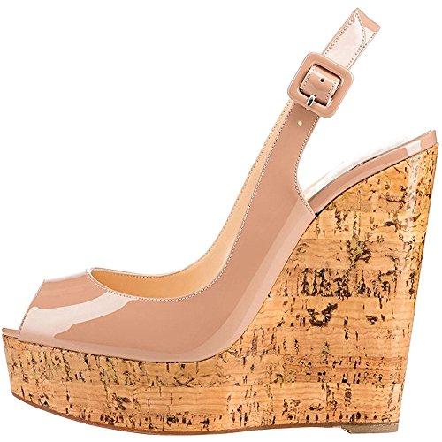 EKS Damen Keilabsatz Peep Toe Plattform Schnalle Holz Plattform Keil Sandalen Nackt 39 EU Ankle Strap Peep Toe Sandalen