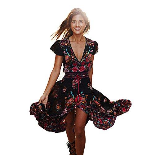 Damen Kleid,Binggong Frauen Print Floral Retro Palace V-Ausschnitt Urlaub Abendkleid Vintage Lang Spitzenkleider Split Asymmetrisch Festkleider (Sexy Schwarz, 2XL)
