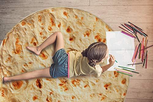 Fuloon Runde Decke, 150cm Neuheits Burrito Tortilla Decke EIN Riesiger Menschlicher Burrito, Tortilla Throw, Food Creation Wrap, Weiches Plüsch-Riesentuch Für Erwachsene Und Kinder(60 inch)
