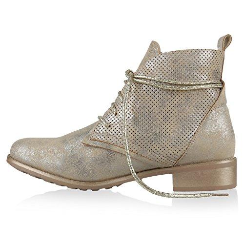 Damen Stiefeletten Schnürstiefeletten Boots Metallic Glitzer Gold