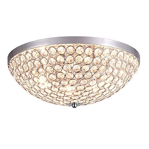 SPARKSOR Modern Crystal Ceiling Light Chandelier, Flush Mount Chrome Plating Process Round lampshades ,Ceiling Light Fitting for Bedroom, Living Room, Indoor, 7 * G9 Bulbs -
