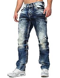 Cipo Baxx Droit Homme Jeans détruit Effekte Millésime Regardez Insipide Boutons fermeture à bouton s'adapter Five Pocket style Coutures décoratives