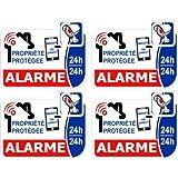 alarme vidéo surveillance lot de 4 logo 90 autocollant adhésif sticker Taille : 8...