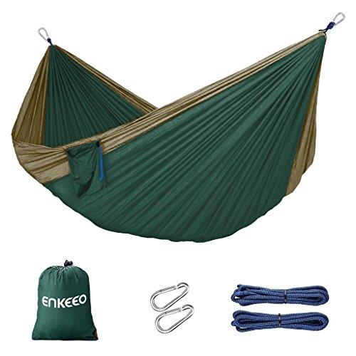 Enkeeo Double-Hamac Tissu en Parachute Nylon Portable Inclut 2 Corde avec Mousquetons et Sac de Transport, Vert et Olive