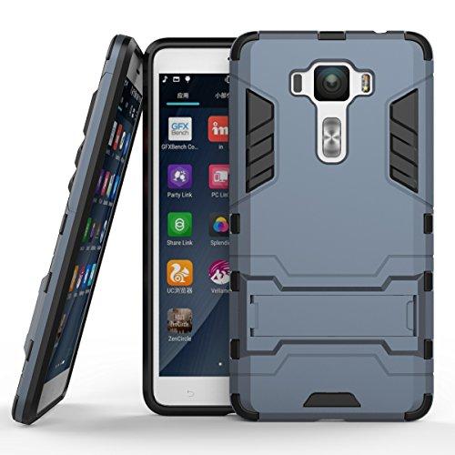 Ycloud Tasche für ASUS ZenFone 3 Deluxe ZS550KL (5.5 Zoll) Hülle, stärkste Telefon Shock Proof Armor Dual Schutzabdeckung Hochfeste PC Kunststoffoberschale Shockproof mit Halterung Dunkelblau