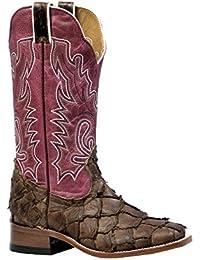 Botas de los EE.UU.-Botas exóticas (pirarucu) BO-4538-65-C (pie normal), diseño de mujer, color rosa y marrón