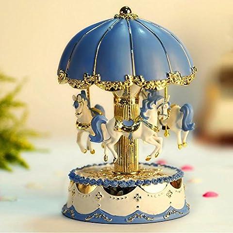 liwuyou Luxe Vintage Taille L Carrousel chevaux boîte à musique avec éclairage LED coloré rotation, Play The Castle in the Sky Tune