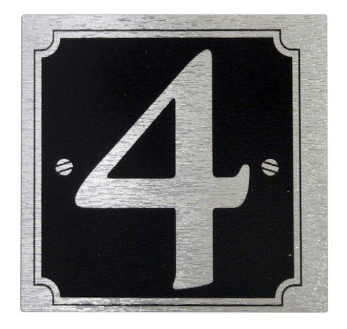 Numéro de rue pour maison et portail '4'auto-adhésives-noir sur argent