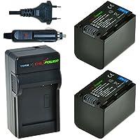 Chili Power NP-FV70Kit: 2x Batería + Cargador para Sony DCR-SR68, DCR-SR88, SX45de > SX85, FDR PT-AX100, HDR-CX110de > CX900, HC9, PJ10de > PJ810, TD10de > TD30V, XR160de > XR550V AC-L20, de nx3d1u, nx30u, NX70U, NEX-VG10de > VG900