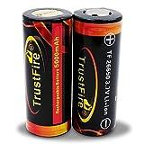 2X Trustfire 26650 Akku 5000mAh - PCB geschützt - 5000mAh, Menge: 2 Stück