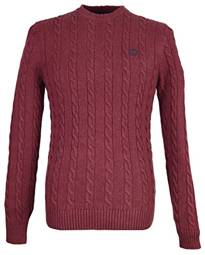 Henri Lloyd MK000004 Kramer Regular Crew Neck Knit Jumper XX-Large Burgundy (Cable Knit Crew Pullover)