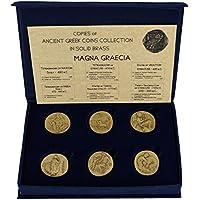 Estia Creations - 6 Monedas de Bronce, latón Macizo, Magna grisecia, siracuse