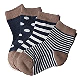 AMEIDD Babysocken, 4 Paare Baby Jungen Mädchen Baumwollsocken Winter warme Socken für 0-3 Jahre alt (S/6-12 Monat, Marine)