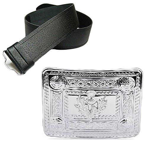 New Leather Man Fine Grain Belt Kilt & Chrome Celtic Whistle Buckle - Choose Size - Black, Large (36-46 In)