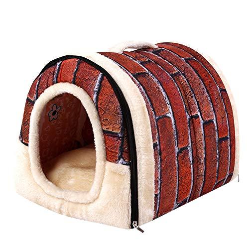 Wawer Haustier Hund Katze Bett Haus Kuschelhöhle tragbar Hundehaus mit Hundebett/Katzenbett Warme...