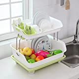 #10: Klaxon Kitchen Dish Drainer Rack Plastic | 2 Layer Kitchen Organizer Sink Dish - Cutlery Drying Organizer Drainer Drying Kitchen Storage Rack & Washing Holder Basket - Green & White