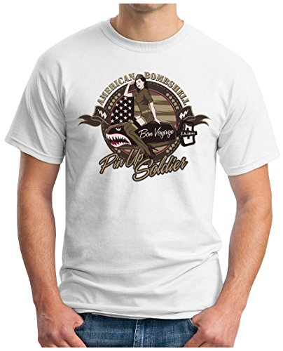 OM3 - PIN-UP-SOLDIER - T-Shirt AMERICAN BOMBSHELL Bon Voyage U.S.ARMY UNITED STATES ARMY NYC GEEK, S - 5XL Weiß