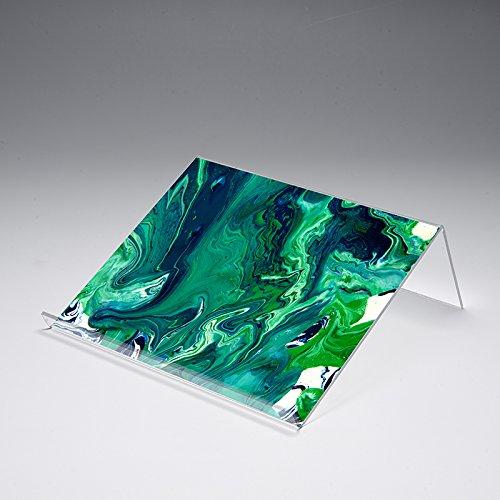 Buchstütze mit Motivdruck 'Green Liquid' | Buchständer | iPad-Stütze | Warenstütze | Acrylhalter | Warenträger aus Acrylglas | Werbeaufsteller, Größe:40x25x12 cm