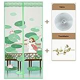 Magnet fliegengitter tür Vorhang anti-insekten, Türen mit magneten bildschirm Lotus Muster Mesh Vorhang Full-frame velcro Schließt automatisch Für balkon schiebetüren terrasse wohnzimmer kinderzimmer-Grün 100 x 220cm