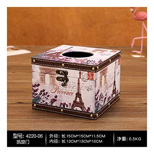 SHUCHANGLE Tissue Box Halter Retro Pu Gebogen Kaffeetasse Muster Seidenpapier Halter Kreative...