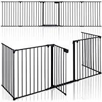 KIDUKU® Barrera de Seguridad 305 cm para Niños y Mascotas | Reja de Protección de Metal - Premontado | Rejilla Protectora Metálica Plegable con Puerta | 5 Paneles