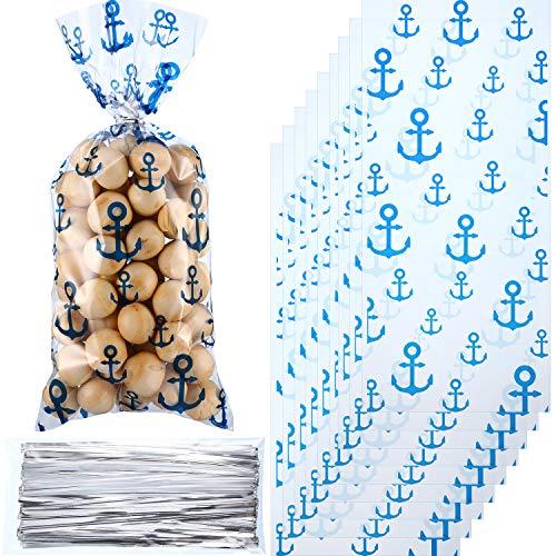 Blulu 100 Stücke Nautische Anker Party Taschen Nautische Süßigkeiten Taschen Heißsiegelbare Leckerbissen mit 100 Stücke Geschenk Twist Krawatten für Nautische Strand Dekoration Thema Party (Thema Nautische Dekorationen)
