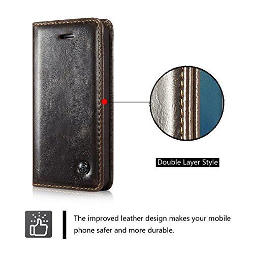 ANNNWZZD CASEME Crazy Horse Leather Wallet Tasche Hüllen Schutzhülle Case für iPhone 6,Weiß Braun