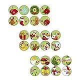 Kiwikatze® Fest - Adventskalender Grün 24 Stück - 25mm Button Pin Ansteckbutton für Adventszeit Weihnachten