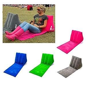Tapis de chaise Lounge de plage gonflable Air Coussin Oreiller Relax Canapé Portable pour camping Plage, femme, gris