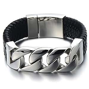 Bracelet Chaîne Gourmette Acier Inoxydable - Bracelet en Cuir Tressé Pour Homme - Noir Véritable Cuir - Fermoir à Ressort