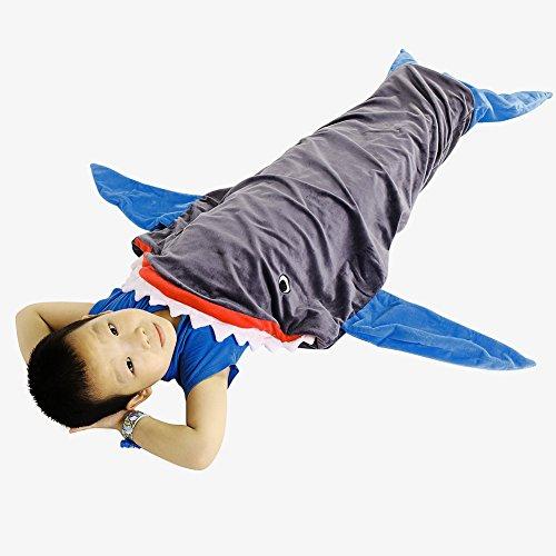JR. Hagrid Warm und Weich Shark für komfortable Decke für 3–12Jahre Kinder Schlafsack, bei Wohnzimmer Sofa und Bett für die perfekte Nacht in (Sky Blau) (Flossen Jr)