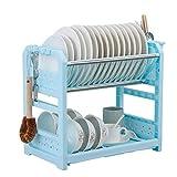 YSCYLY 2 Layer Dish Rack Vajilla Estante Plate Cubiertos Cup Rack Drain Bowl Rack Cocina Estante Estante Accesorios De Cocina (1 Pcs),Blue
