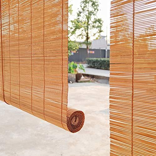 Bambusrollo Carbonized Roller Shade Für Gartenpavillon Außenverdunkelung, Haken, 60 cm / 80 cm / 100 cm / 120 cm / 140 cm Breit (Size : W 60×H 70cm) -