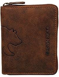 Brown Bear Geldbörse Leder braun vintage Reißverschluss 8009 br