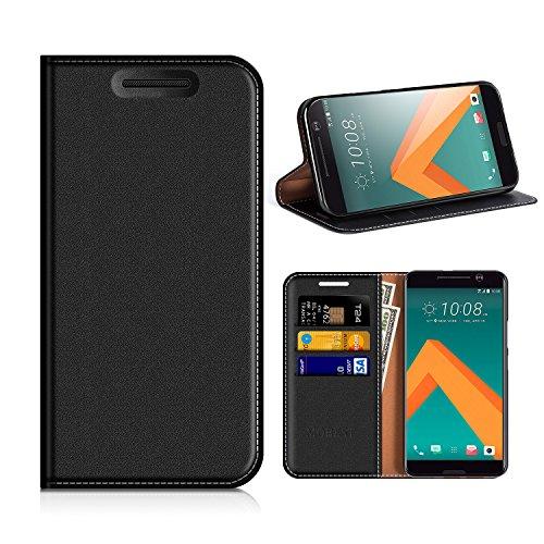 HTC 10 Hülle, Mobest HTC 10 Lederhülle, HTC 10 Ledertasche, Handyhülle Wallet Brieftasche Tasche Schutzhülle mit Kartenfach Standfunktion für HTC 10 - Schwarz