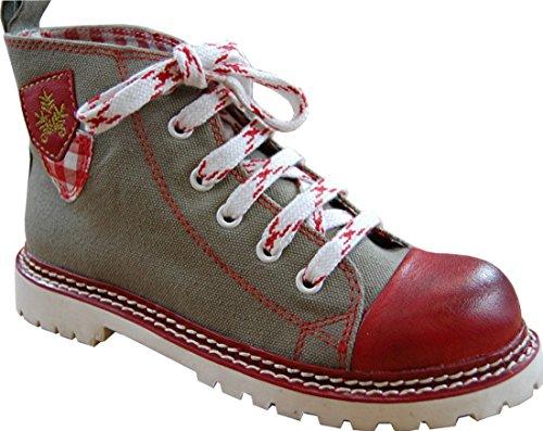 Spieth & Wensky Kinder Trachten Vintage Canvas Sneaker Jojo helloliv/rot/rot