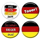 Polarkind Button Fan Anstecker 4 teilige Set Weltmeisterschaft 2018 Fussball WM rund 38mm