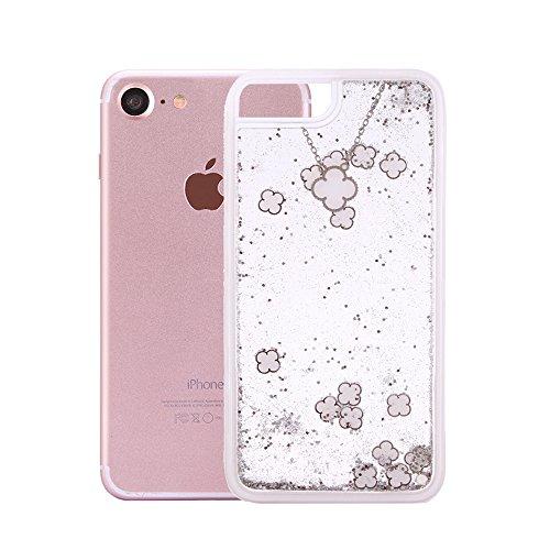 """Handyhülle für iPhone 7, Transparent Kristall CLTPY Ultra Hybrid 2 in 1 Weichsilikon & Hartplastik Schale Etui für iPhone 7, Glitzer Frei Fließenden Flüssigkeit Treibsand Fall für 4.7"""" Apple iPhone 7  Weißsilber"""