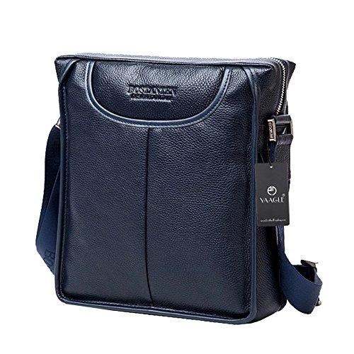 YAAGLE Rindleder Herren Taschen Schultertasche Business Taschen Freizeit erste Schicht aus Leder Kuriertasche Aktentasche-blau blau