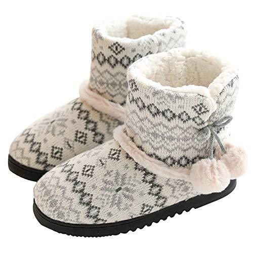 AONEGOLD Hausschuhe Damen Hausstiefel Baumwolle Pantoffeln mit Plüsch rutschfest Winter Indoor(Grau-1,Größe 38-39 EU)
