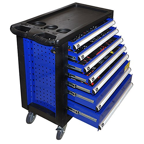 Home Deluxe - Werkstattwagen Blau - 7 gefüllte Schubladen mit Schloss zur zentralverriegelung - Fahrbar mit 4 Rollen und Feststellbremse - inkl. 2020 teiligem Werkzeug