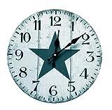 mixed24 30cm Vintage Stern Wanduhr Analog Küchenuhr Shabby Wohnzimmer Star Sternchen Sterne